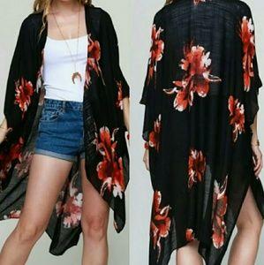 Black Floral Print Kimono - One Size Fits Most